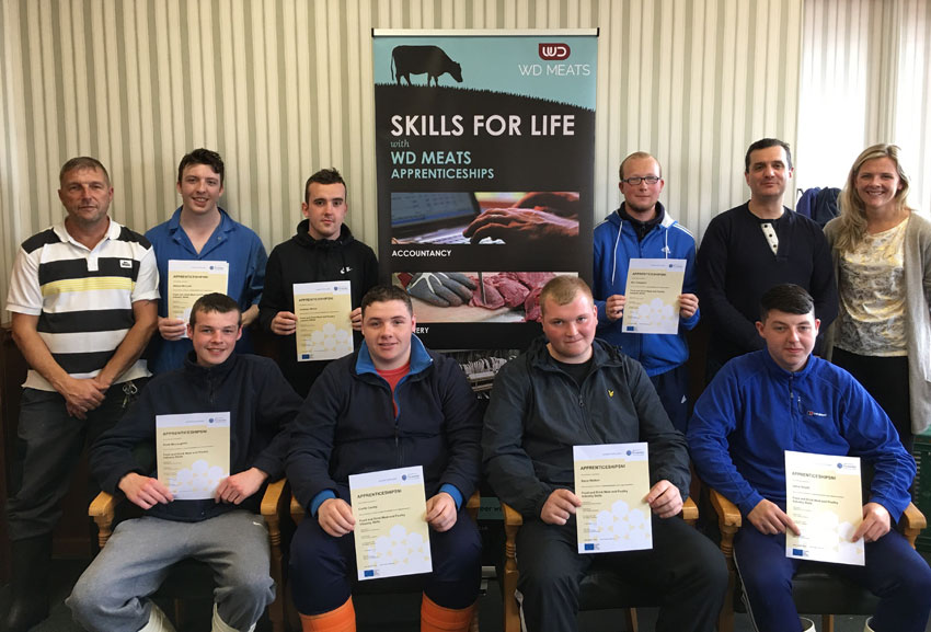 Apprentice presentation of NVQ Level 2 Meat and Poultry Industry Skills certificates, July 2018